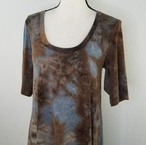 Karen Kane tie dye elbow sleeve brown blue dress